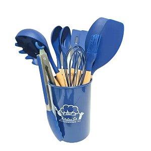 Kit Silicone com Cabo em Madeira 12 peças Azul-AMIGOLD