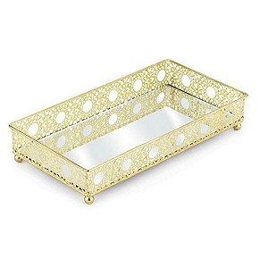 Bandeja Luxo 24 cm Dourada em metal com espelho  - JOLITEX