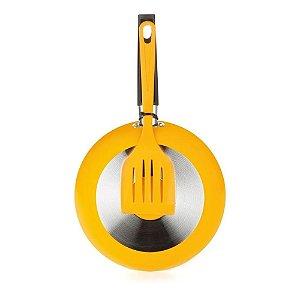 Frigideira com Espátula 20 cm em Alumínio Amarela-Multifon