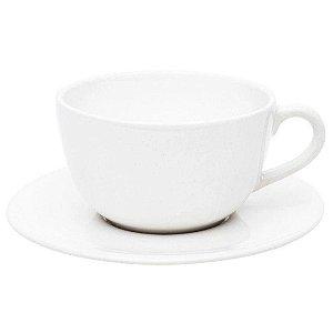 Conjunto para Chá com 12 Pcs em Porcelana Ø14cm Branca 220ml