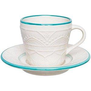 Conjunto para Chá Serena com 12 Pcs 220ml em Porcelana Ø15cm