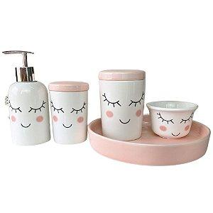 Kit Higiene em Porcelana 5 Peças InfantiL Rosa e Branco