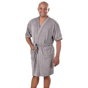 Roupão de Banho Adulto Felpudo Masculino em Algodão P Cinza