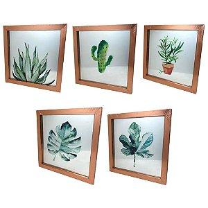 Conjunto 5 Quadros Decorativos Vidro Espelhado Folhas - FWB