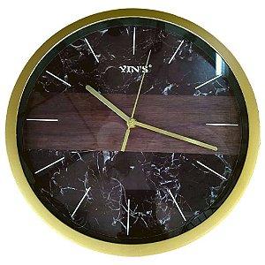 Relógio de Parede Marmorizado Preto/Dourado - Yin's