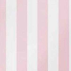 Papel de Parede Adesivo Listrado Rosa em PVC 5mx45cm