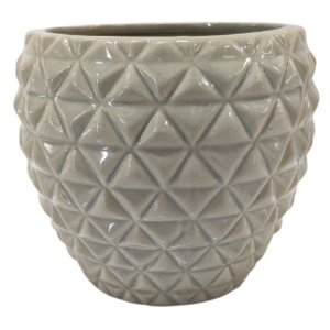 Vaso Decorativo em Porcelana 12 cm Cinza – Imporiente