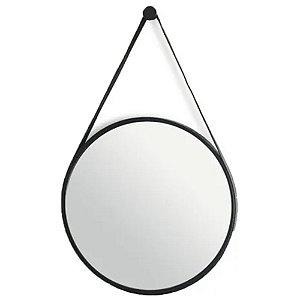 Espelho Decorativo Redondo Preto c/ Alça 43 cm - INTERPONTE