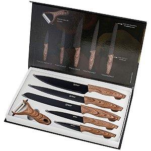 Jogo de Facas Wood com 6 Peças em Aço Inox Marrom - Eirilar