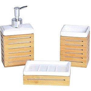 Kit Para Banheiro Em Cerâmica E Bambu 3 Peças - Craw