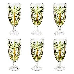 Conjunto de Taças Palm Tree Wolff 6 Peças em Cristal 450ml