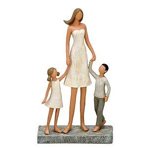 Enfeite Decorativo Mãe e Filhos em Resina 24cm Branco Mabruk