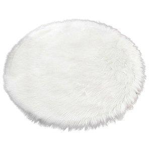 Tapete Decorativo Redondo de Pelúcia Alta 88cm Branco – FWB