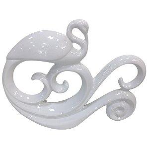 Escultura Decorativa Cisne em Cerâmica Branco - Ana Maria