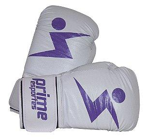 Luva de Boxe Prime Esportes - Knockout Branca e Lilás