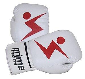 Luva de Boxe Prime Esportes - Knockout Branca e Vermelha