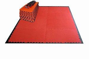 Kit Tatame Residencial Pequeno Prime Esportes - Preto com Vermelho