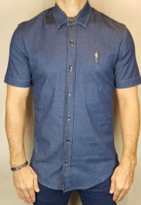 Camisa Jeans Teselli by Zip Off Manga Curta Escura