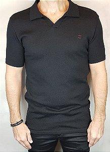 Camisa Polo Teselli by Zip Off Algodão Retilíneo Preto