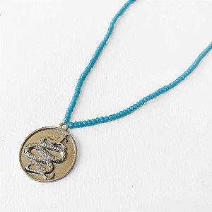 Colar Medalha Cobra turquesa