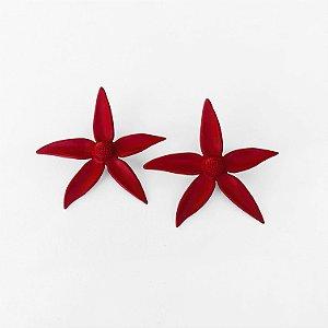 Brinco Cinco Pontas vermelho fosco
