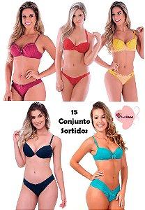 Kit revenda com 15 conjuntos lingerie (variados )