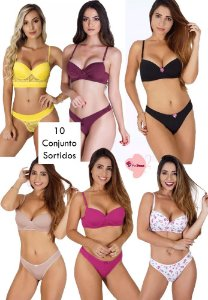 Kit revenda com 10 conjuntos lingerie (variados)