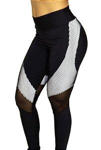 Conjunto calça + top+ blusa Legging suplex 2D branca em tule transparente