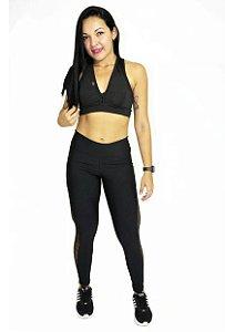 Conjunto Calça+top+blusa Legging suplex 2D em tule