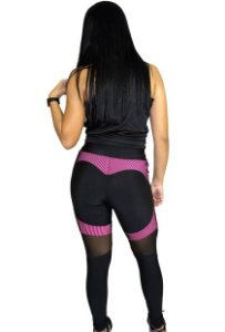 Conjunto Calça+Top+blusa Legging empina BumBum suplex em 2D tule transparente