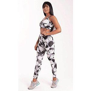 Conjunto Fitness Poliamida Estampa Geométrica Black & White  (Calça + Top)