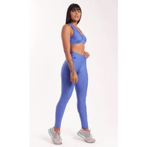 Conjunto Fitness Poliamida Azul Royal (Calça + Top)