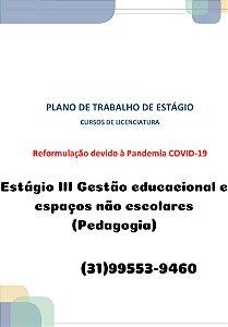 Plano de trabalho dos estágios dos cursos de licenciatura reformulação devido à pandemia covid-19 Estágio III Gestão educacional e espaços não escolares (Pedagogia)
