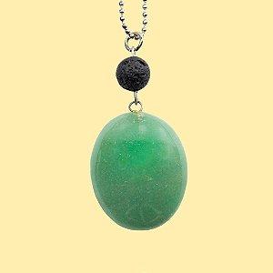 Colar Quartzo Verde para Aromaterapia Pedra Ovalada