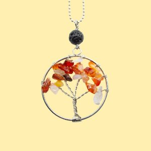 Colar Árvore da Vida Ágata de Fogo para Aromaterapia