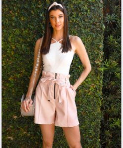 Shorts Dress&Co- material sintético rosa