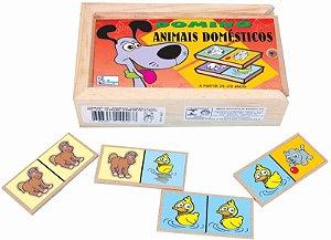 Brinquedo Educativo Domino De Animais Madeira Simque 3 Anos