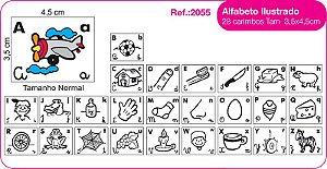 Carimbo Alfabeto Ilustrado 28 Peças Editora Fundamental