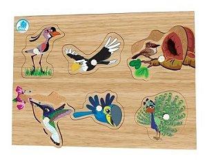 Quebra Cabeça De Pinos Aves Brinquedo Para Bebes Simque