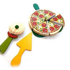 Coleção Comidinha Brinquedo de Madeira- Pizza - NewArt