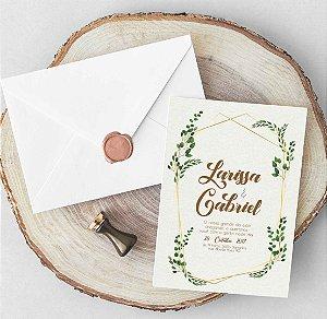 Convite Casamento folhagem - arte digital