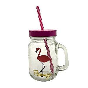 Copo Jarra De Vidro Com Canudo Flamingo Rosa 450 Ml