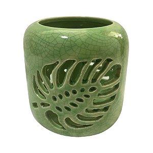 Castiçal Em Cerâmica Folhas De Janela Vazada Verde