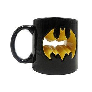 Caneca Porcelada Decorativa Batman Logo Amarelo Vazado - Urban