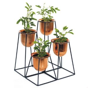 Vaso Formas Geo Armação em Metal 4 Vasos Plástico Cobre