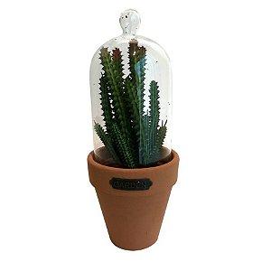 Vaso Com Tampa De Vidro Candelabra Cactus Verde e Laranja