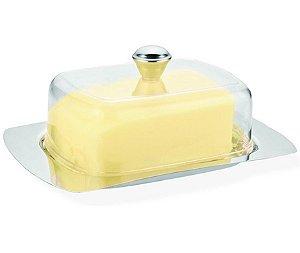 Porta Manteiga Inox com Prato Acrilico Transparente