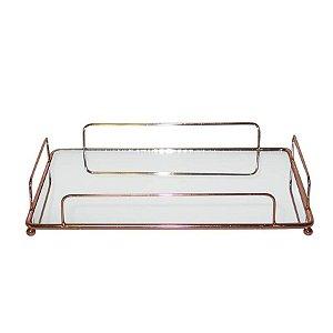 Bandeja Retangular De Ferro Com Espelho - Cobre