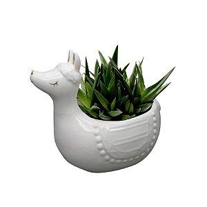 Cachepot Cerâmica Cute Lhama Branco