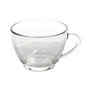 Xícara de Chá Em Vidro Transparente Lisa 240ml Sem Pires - Jogo 6 Peças